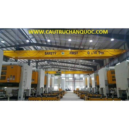 Cầu trục 10 tấn hàn quốc 2 dầm đôi khẩu độ nhà xưởng 20m